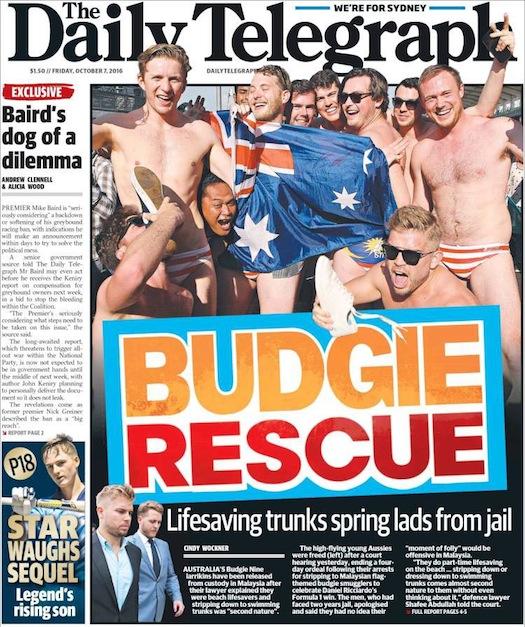 นสพ. The Telegraph ฉบับ 7 ต.ค. 2016 เสนอข่าว Budgie Nine พ้นคุกเพราะเหตุเคยชินกับการสวมกางเกงว่ายน้ำอาสาสมัครช่วยชีวิตริมชายหาด