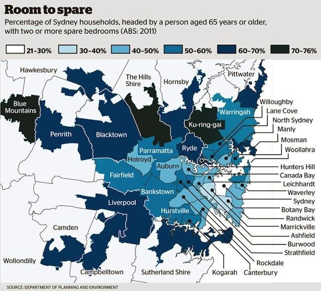 ภาพอัตราร้อยละของบ้านที่มีเจ้าของอายุตั้งแต่ 65 ปีขึ้นไปและมีห้องนอนว่างเกินกว่า 2 ห้องขึ้นไป ตามข้อมูลของสำนักงานสถิติแห่งชาติปี 2011