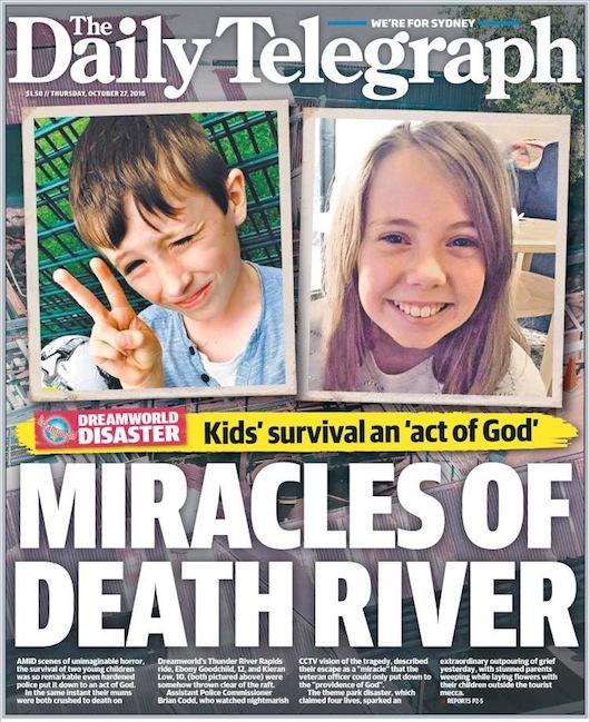 """นสพ. The Telegraph ฉบับ 27 ต.ค. 2016 พาดหัวข่าว """"ปาฏิหาริย์แห่งแม่น้ำมรณะ"""" เด็กรอดชีวิตด้วยเหตุพลังธรรมชาติฉับพลันที่ควบคุมไม่ได้ หรือ 'act of God'"""