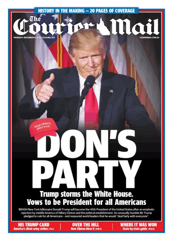 นสพ. The Courier ฉบับวันที่ 10 พ.ย. 2016 เป็นหนึ่งในหนังสือพิมพ์หลักของประเทศทุกฉบับที่พาดหัวข่าวนาย Donald Trump ชนะเลือกตั้งประธานาธิบดีของสหรัฐอเมริกา