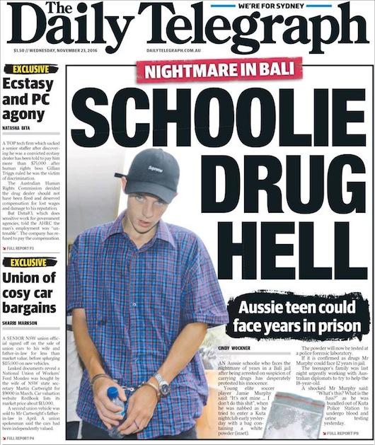 นสพ. The Telegraph ฉบับวันที่ 23 พ.ย. 2016 เสนอข่าวการจับกุมนาย Jamie Murphy วัย 18 ปีสกูลี่รายแรกที่ประสบปัญหาปิดการศึกษาปี 2016