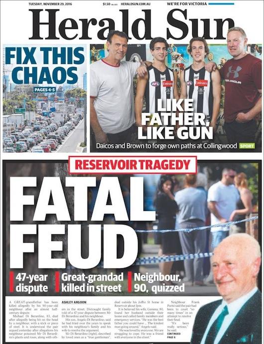 นสพ. Herald Sun ฉบับ 29 พ.ย. 2016 พาดหัวโศกนาฏกรรมที่ย่าน Reservoir อาฆาตกันถึงตาย