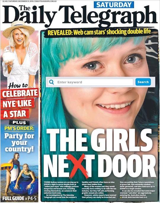 """นสพ. The Telegraph ฉบับ 31 ธ.ค. 2016 """"พลาดหัวหญิงสาวบ้านถัดไป"""" อาจเป็นสาว camgirl ก็ได้"""