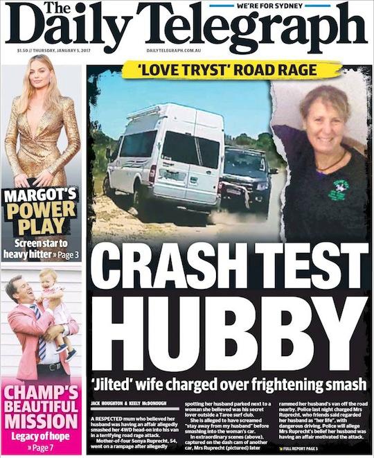"""นสพ. The Telegraph ฉบับ 5 ม.ค. 2017 พาดหัวข่าว """"รักลอบพบ"""" ก่อเหตุขับรถไล่ล่าบ้าระห่ำ ภรรยาผู้ถูกนอกใจโดนตั้งข้อหาขับรถพุ่งชนรถสามี"""