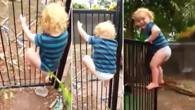 ด.ช. Brodie Atkinson วัย 2 ขวบสามารถปีนข้ามรั้วกั้นสระน้ำได้ภายในเวลา 21 วินาที : ภาพจากข่าว 7 News ต้นฉบับเฟสบุ๊ค