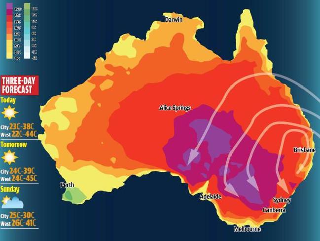 แผนที่สภาพอากาศแสดงคลื่นความร้อนปกคลุมทางตะวันออกของออสเตรเลีย สีม่วงแก่แสดงถึงอุณหภูมิ 45 องศาขึ้นไป สีม่วงอ่อนคือ 40 องศา จะเห็นสีม่วงอ่อนปรากฎอยู่เหนือซิดนีย์ จุดนั้นคือเมือง Gosford : ภาพจากสำนักงานอุตุนิยมวิทยา