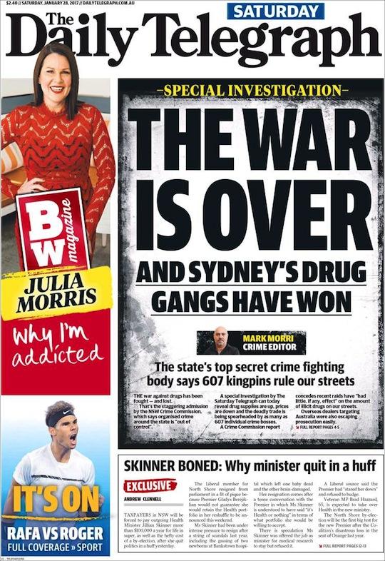 """นสพ. The Telegraph ฉบับ 28 มกราคม 2017 พาดหัว """"สงครามสิ้นสุดแล้ว และแก๊งยาเสพติดในซิดนีย์เป็นฝ่ายชนะ"""" เนื้อหาอ้างถึงคณะกรรมการอาชญากรรม (ชื่อเดิมสำนักงานปราบปรามอาชญากรรม) เปิดเผยว่าแก๊งค้ายา 607 แก๊งได้ครอบครองการค้ายาฯตามท้องถนนทั่วรัฐน.ซ.ว."""